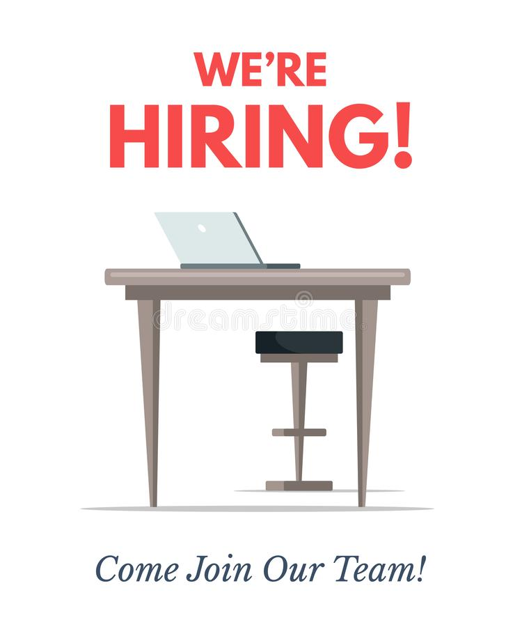 We are hiring flat color vector poster template royalty free illustration