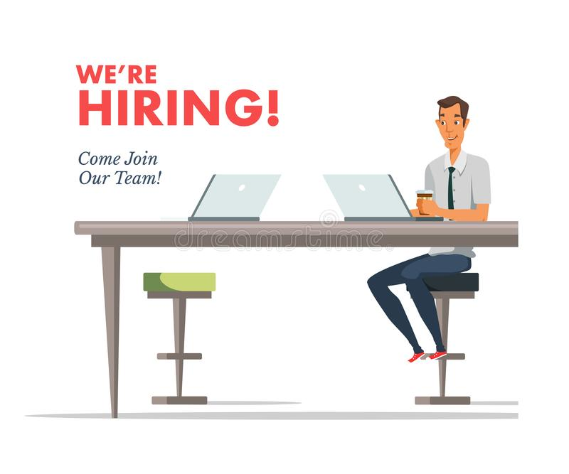 We are hiring lettering, text vector illustration royalty free illustration