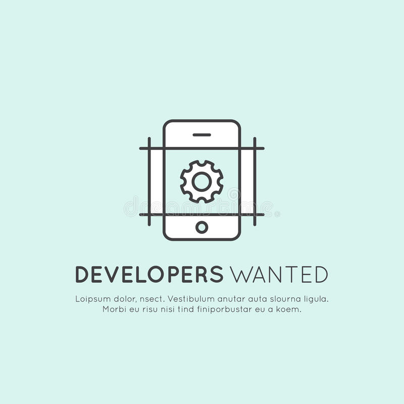 We are Hiring and Looking for Interns and Young Developers! vector illustration