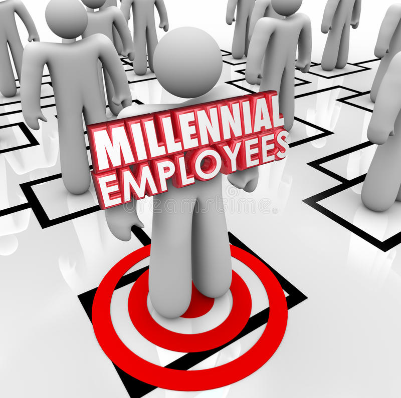 Hiring Millennial Employees Organization Chart Staff Young Workforce. Millennial Employees words on a worker or staff member on an organizational chart to royalty free illustration
