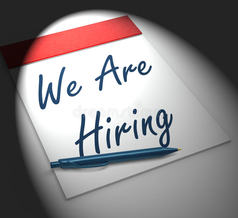 We Are Hiring Notebook Displays Employment Recruitment Or Person vector illustration