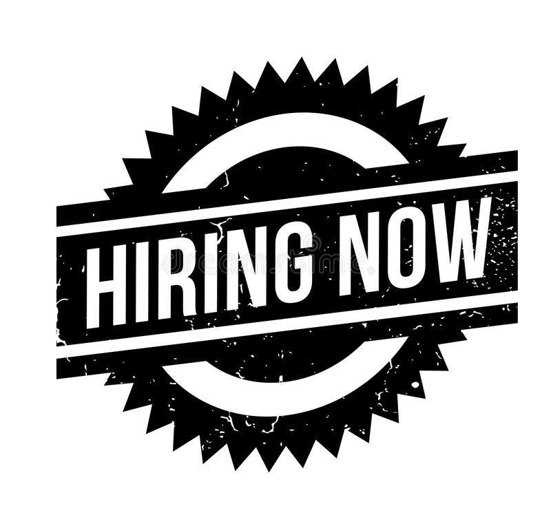 Hiring Now rubber stamp. Grunge design with dust scratches. Effects can be easily removed for a clean, crisp look. Color is easily changed royalty free illustration