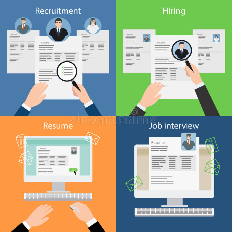 Hiring, recruiting, resume and interview. Hiring and recruiting, resume and interview. Job search and carrer. Vector illustration vector illustration