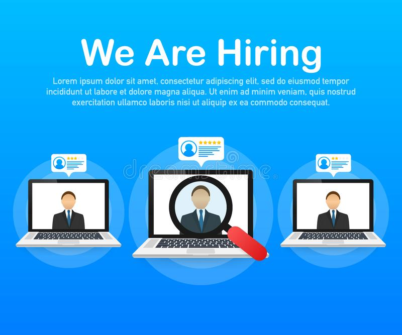 We are hiring. Recruitment concept. Hire workers, choice employers search team for job. Resume icon. Vector illustration. vector illustration