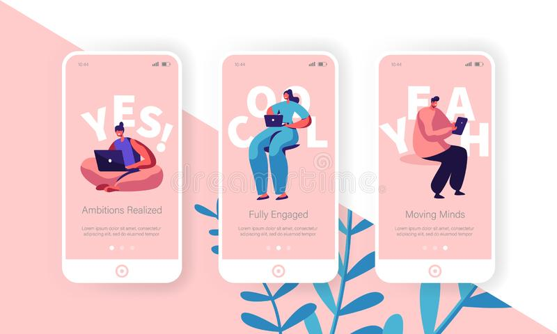 Hiring and Recruitment Concept for Website or Web Page. People Searching Job, Online Interview, Recruitment Agency Service. Template, Mobile App Page Onboard vector illustration