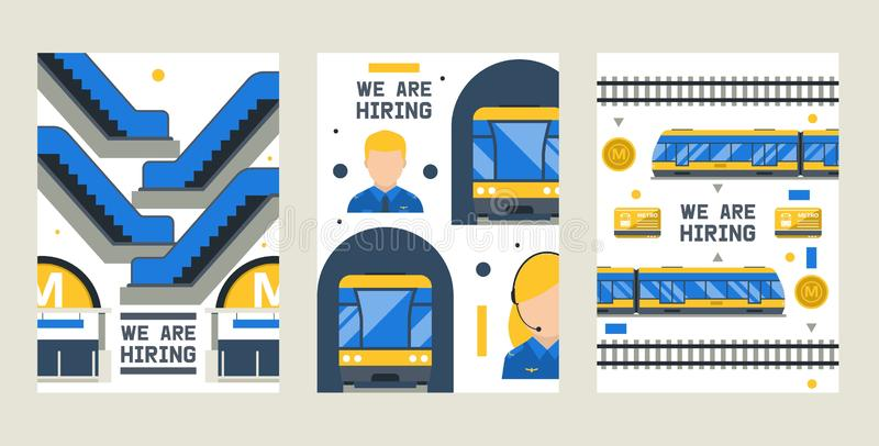 We are hiring set of cards, posters vector illustration. Metro station elements including train, platform, ticket. Driver, entrance door, card, escalators stock illustration