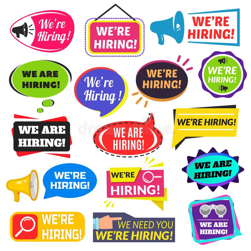 We are hiring sign vector illustration