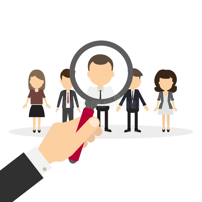 Hiring staff concept. Hand with magnifying glass finding and recruiting new worker royalty free illustration