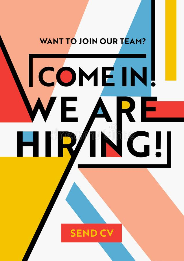 We Are Hiring Typography on Geometric Modern Style Colorful Shapes Background. Recruitment Poster, Open Vacancy Design Template vector illustration