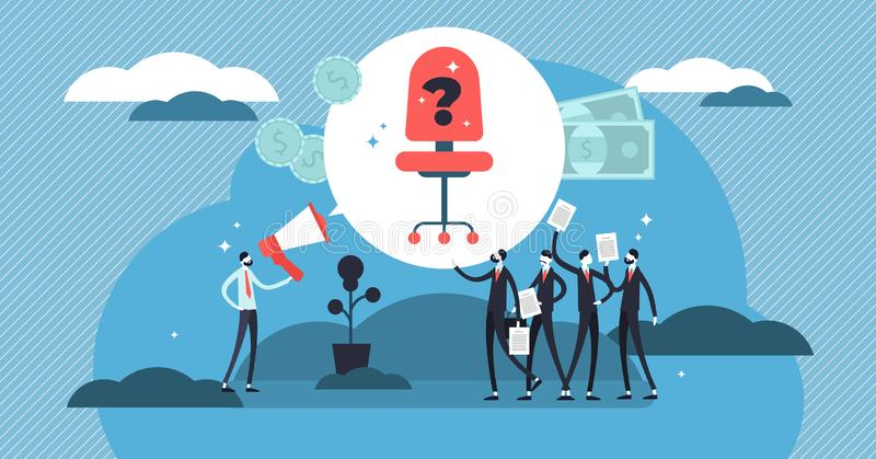 Hiring vector illustration. Mini persons crowd with CV for job recruitment. stock illustration