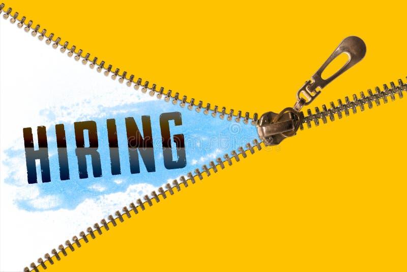 Hiring word under zipper stock illustration