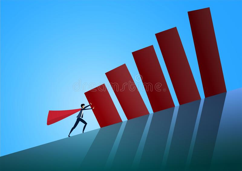 Hiro-Mann, der Diagramm auf Hügel drückt Symbol der Schwierigkeit, Ehrgeiz, Motivation, Kampf Abbildung lizenzfreie abbildung