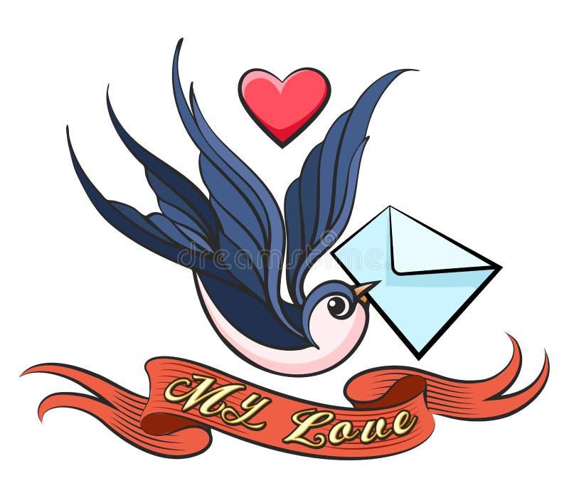 Hirondelle avec le tatouage de lettre d'amour illustration stock