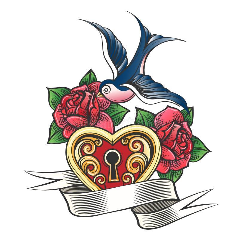 Hirondelle avec le tatouage de Rose et de coeur illustration libre de droits