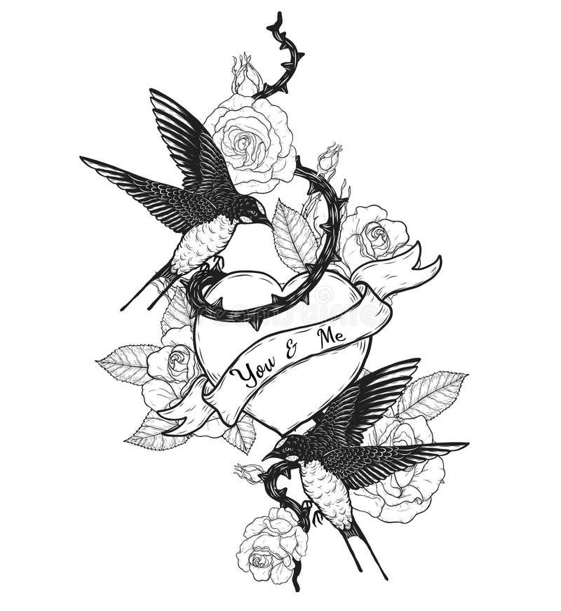Hirondelles avec le tatouage de vecteur de coeur dessinant ? la main illustration de vecteur