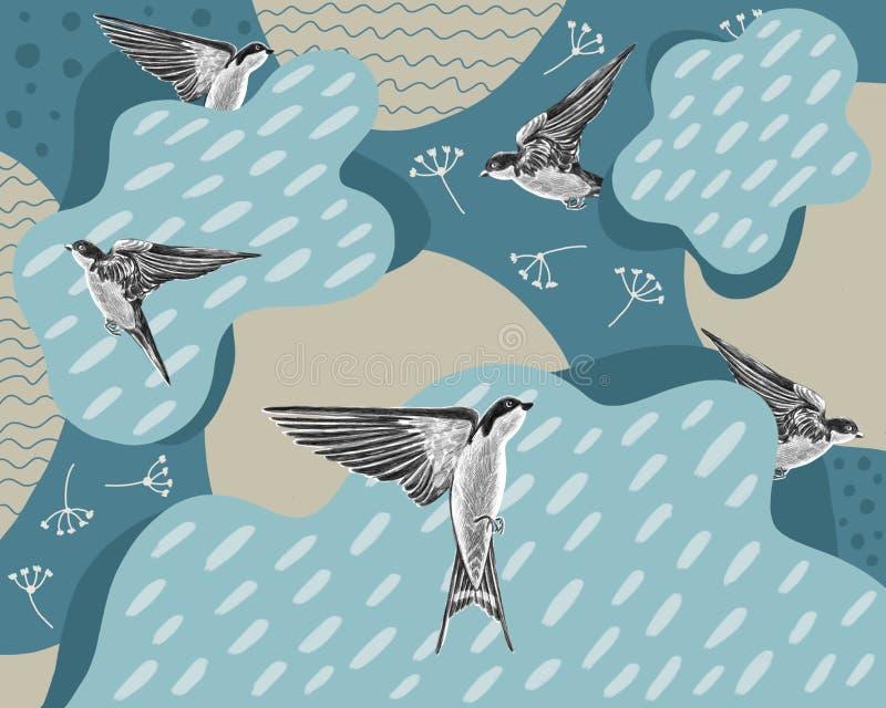 Hirondelles sur un fond bleu avec des nuages et des baisses illustration libre de droits