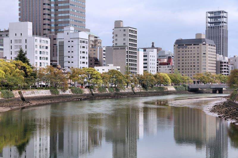 Hiroshima. City in Chugoku region of Japan (Honshu Island). Modern skyscraper skyline royalty free stock photos
