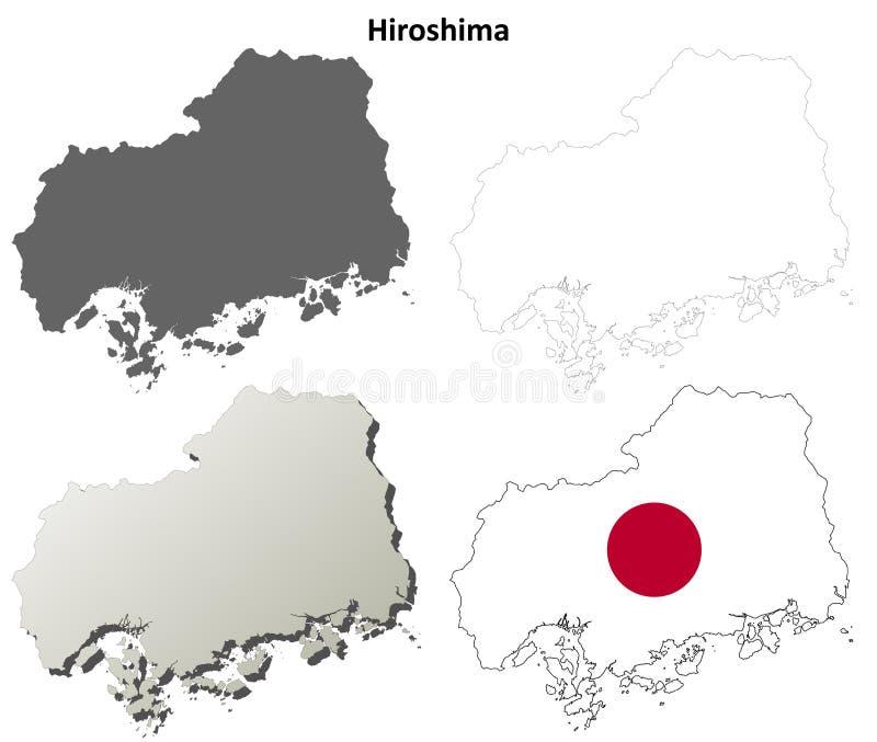 Hiroshima blank outline map set. Hiroshima prefecture blank detailed outline map set vector illustration