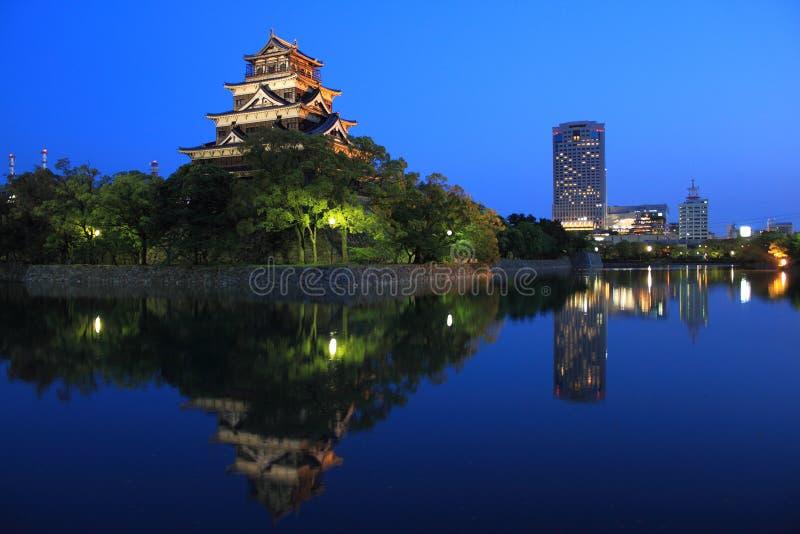 HIROSHIMA CASTLE. Hiroshima, Japan, photographed at twilight stock image
