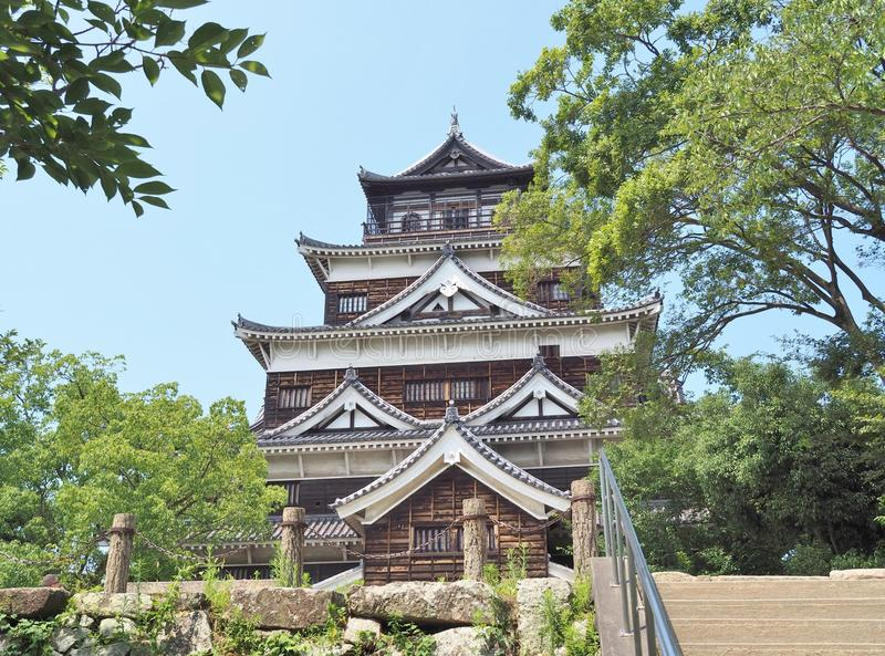Hiroshima Castle. Front view of Hiroshima Castle Carp Castle in Hiroshima, Japan. The castle was destroyed by the atomic bombing on August 6, 1945 but was royalty free stock photos