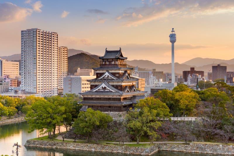 Hiroshima Castle Japan. Hiroshima, Japan cityscape at the castle royalty free stock images