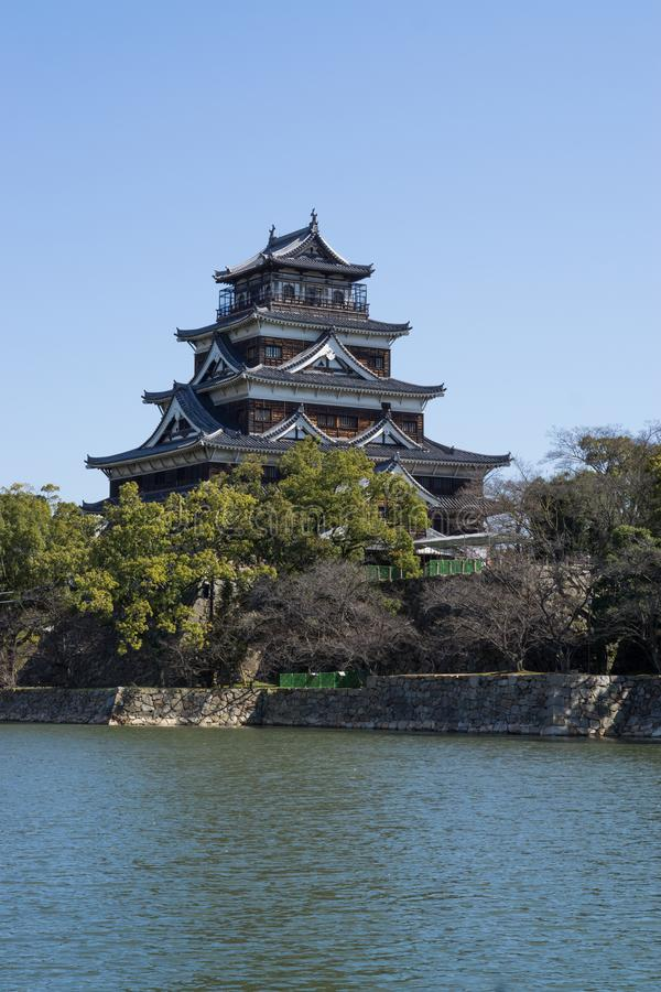 Hiroshima Castle outside. The Tenshu Tower. Hiroshima Castle or Hiroshima-jō, the outside castle in Hiroshima prefecture, Japan. This is actually a royalty free stock photos