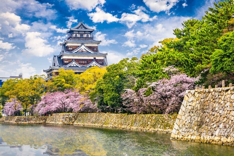 Hiroshima Castle in Spring. Hiroshima, Japan at Hiroshima Castle in springtime stock photography