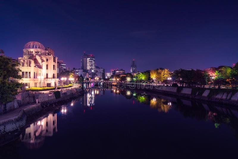 Hiroshima Cityscape and Riverscape by Night in Japan royalty free stock images