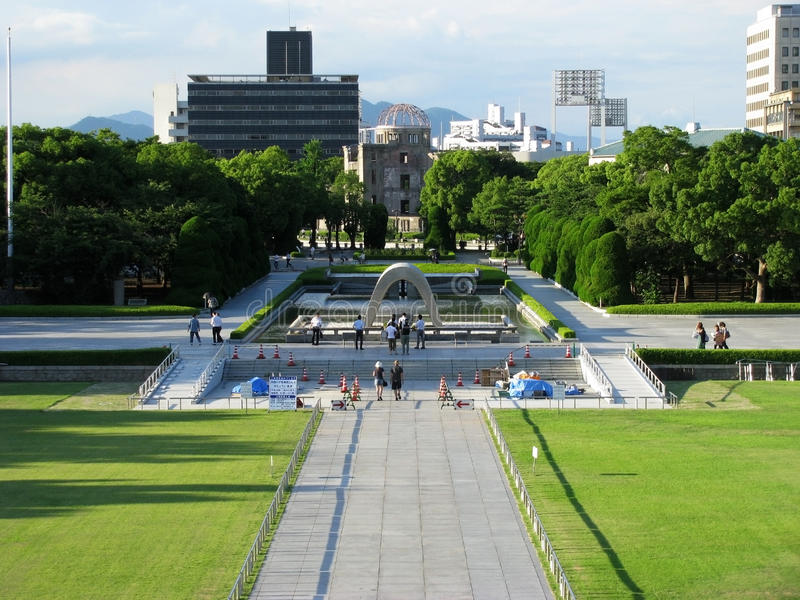 Hiroshima Dome, Monument And Eternal Flame Stock Images