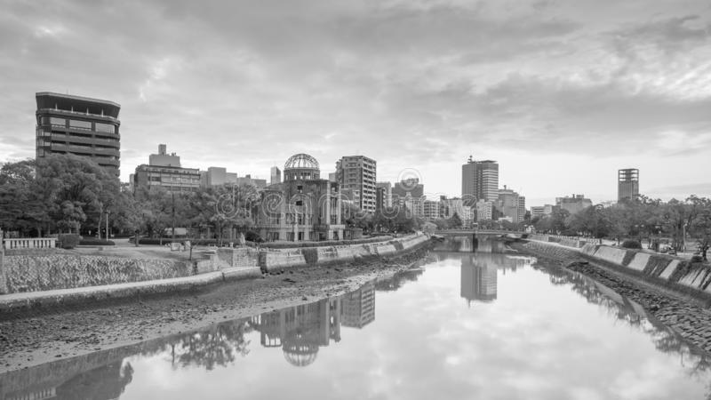 Hiroshima-Frieden Memorial Park mit Atombomben-Haube in Hiroshima lizenzfreie stockfotos