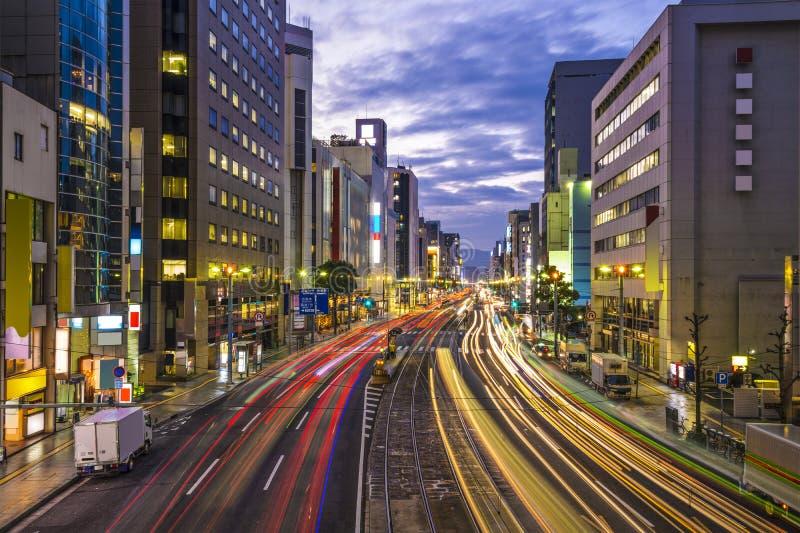 Hiroshima, Japan. Downtown at Aioi-dori Avenue stock photos
