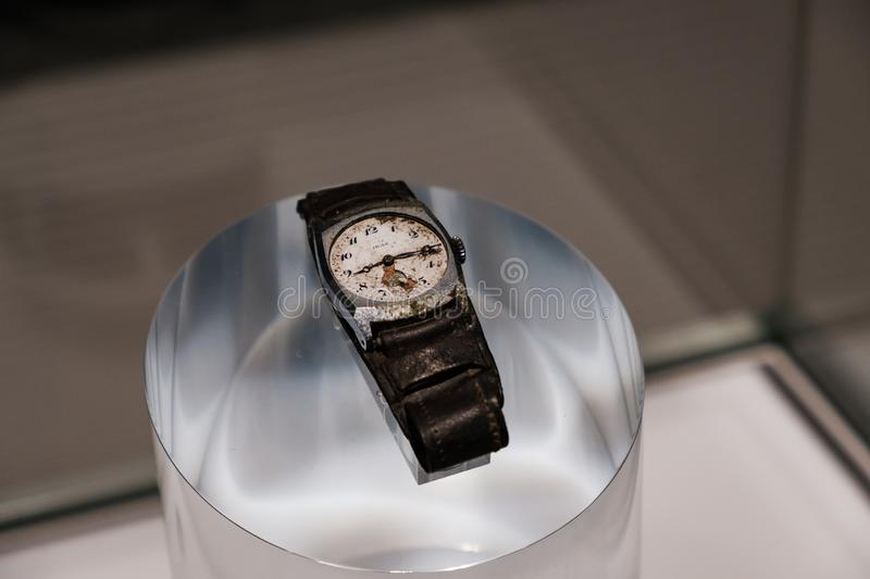 HIROSHIMA, JAPAN - FEB 05, 2018: The watch that stopped at the moment of the nuclear explosion in Hiroshima peace Memorial museum. HIROSHIMA, JAPAN - FEB 05 stock image
