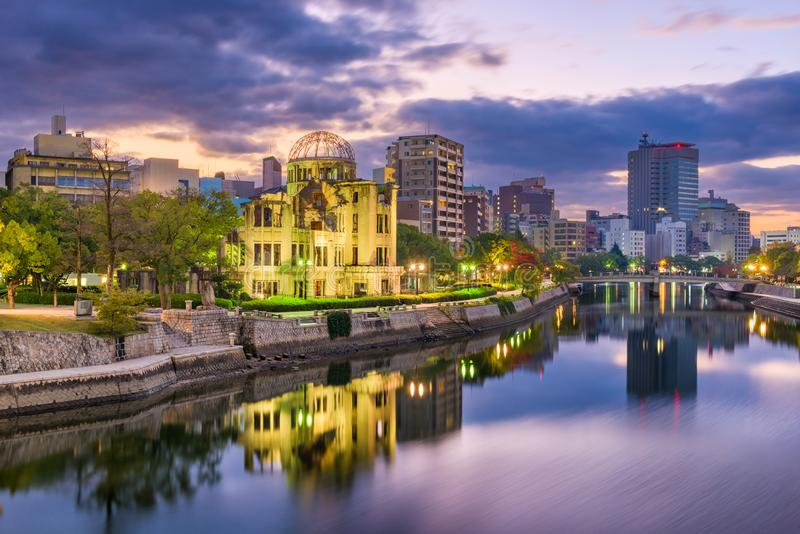 Hiroshima, Japan Skyline. And Atomic Dome at twilight on the river royalty free stock photo