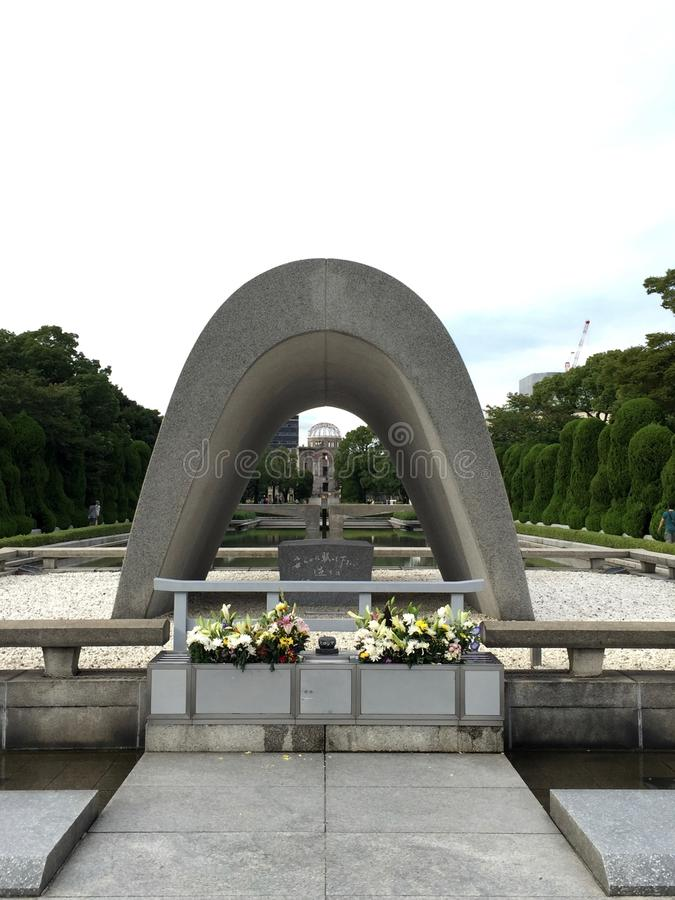 Hiroshima memorial. View over the Memorial and the Dome in Hiroshima, Japan stock photography