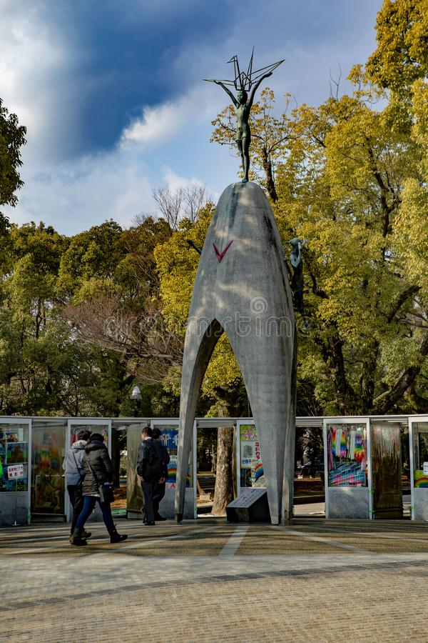 Hiroshima Peace Memorial park Children`s monument. The Hiroshima Peace Memorial park and The Children`s Peace Monument. Atomic Bomb Children Statue is a monument stock images
