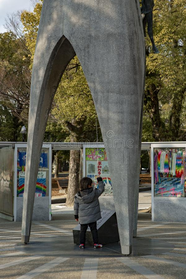 Hiroshima Peace Memorial park Children`s monument. The Hiroshima Peace Memorial park and The Children`s Peace Monument. Atomic Bomb Children Statue is a monument stock photography