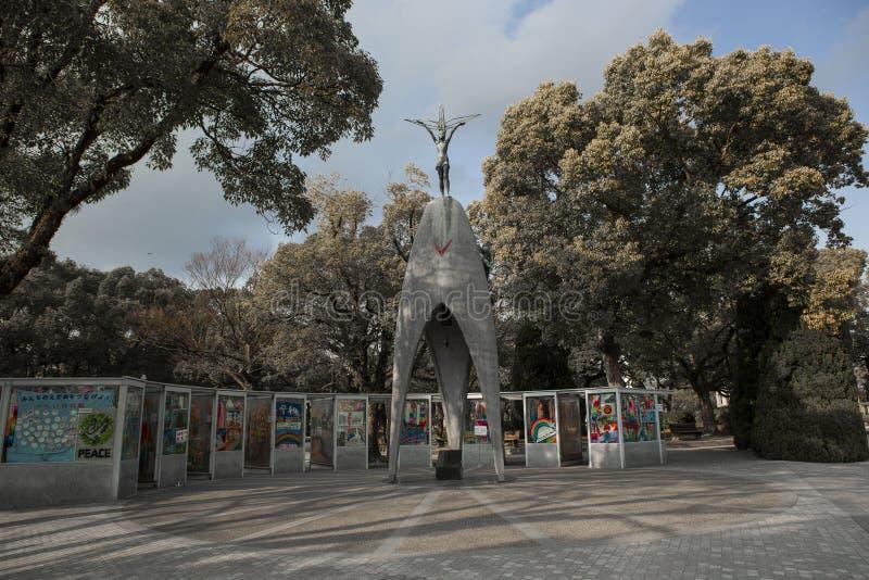 Hiroshima Peace Memorial park Children`s monument. The Hiroshima Peace Memorial park and The Children`s Peace Monument. Atomic Bomb Children Statue is a monument stock image