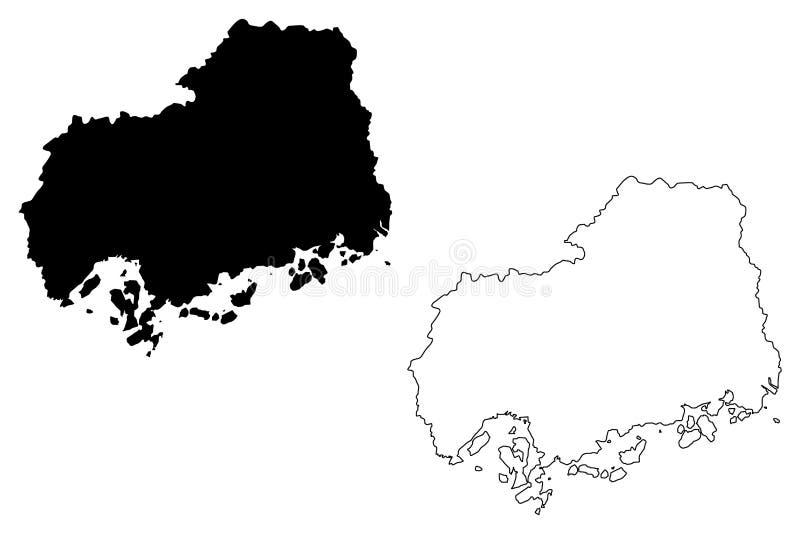 Hiroshima Prefecture map vector. Hiroshima Prefecture Administrative divisions of Japan, Prefectures of Japan map vector illustration, scribble sketch Hiroshima royalty free illustration