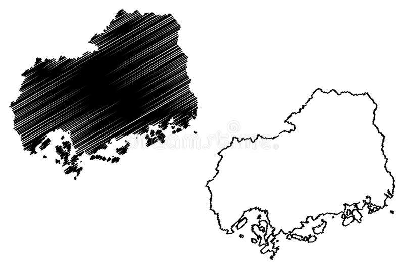 Hiroshima Prefecture map vector. Hiroshima Prefecture Administrative divisions of Japan, Prefectures of Japan map vector illustration, scribble sketch Hiroshima stock illustration