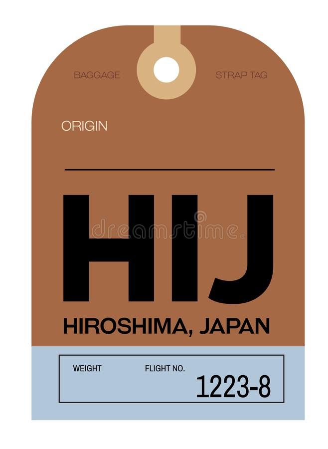 Hiroshima airport luggage tag. Hiroshima realistically looking airport luggage tag illustration stock illustration