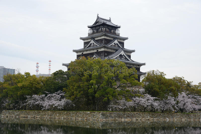 Hiroshima sakura. Hiroshima castle with cherry blossom royalty free stock images