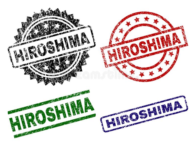Scratched Textured HIROSHIMA Stamp Seals. HIROSHIMA seal prints with distress style. Black, green,red,blue vector rubber prints of HIROSHIMA title with scratched vector illustration