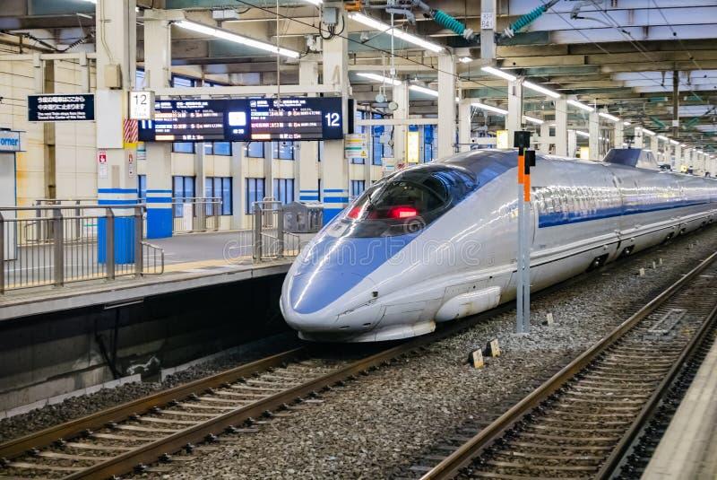 Hiroshima station. Hiroshima, Japan - May 6, 2016: shinkansen at Hiroshima station stock images