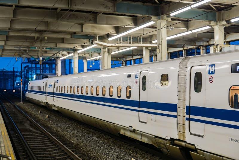 Hiroshima station. Hiroshima, Japan - May 6, 2016: shinkansen at Hiroshima station stock photo