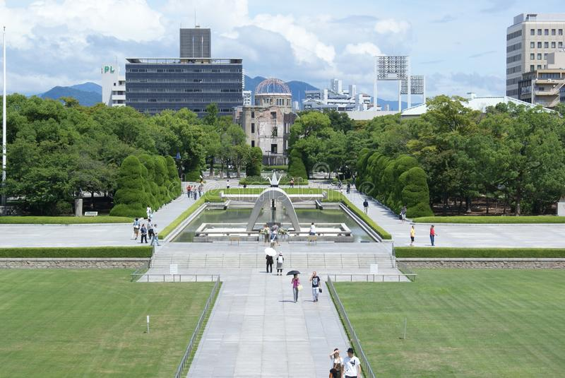 Hiroszima pokój Memorial Park i kopuła zdjęcia royalty free