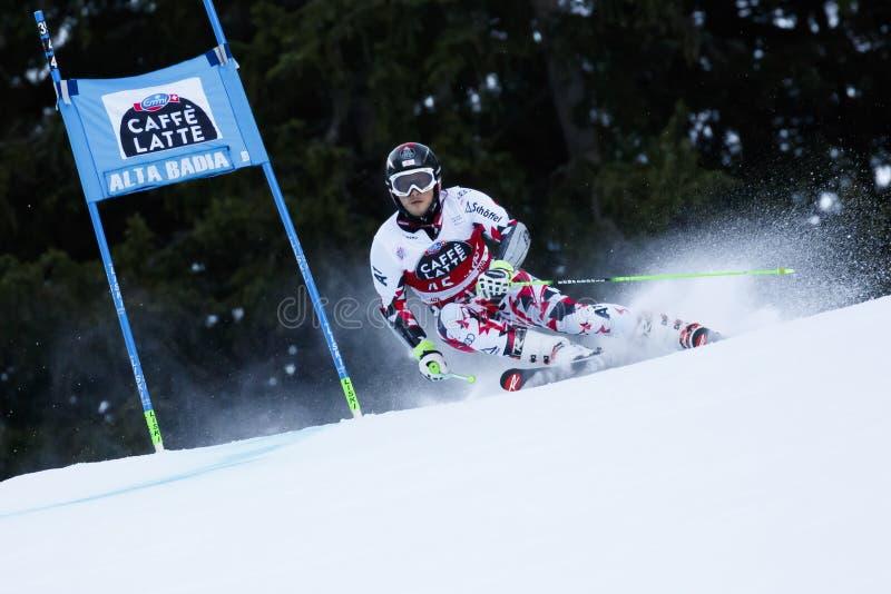 HIRSCHBUEHL-kristen i den Audi Fis Alpine Skiing World koppen Men' arkivfoton