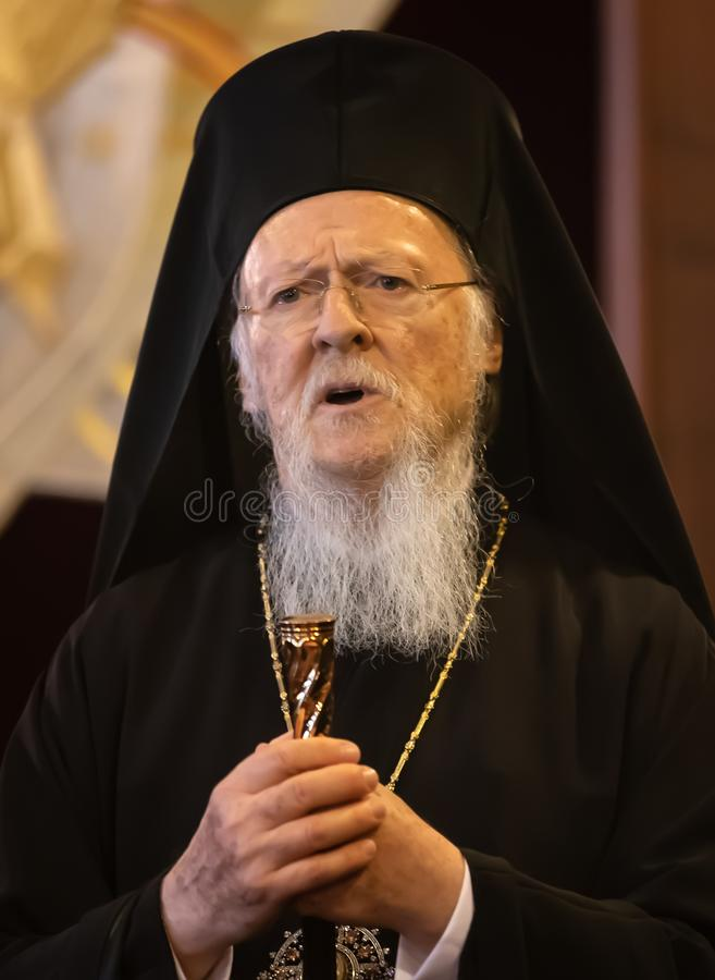 His All-Holiness Ecumenical Patriarch Bartholomew. Istanbul, Turkey - Nov 03, 2018: Ecumenical Patriarchate and His All-Holiness Ecumenical Patriarch Bartholomew royalty free stock photo
