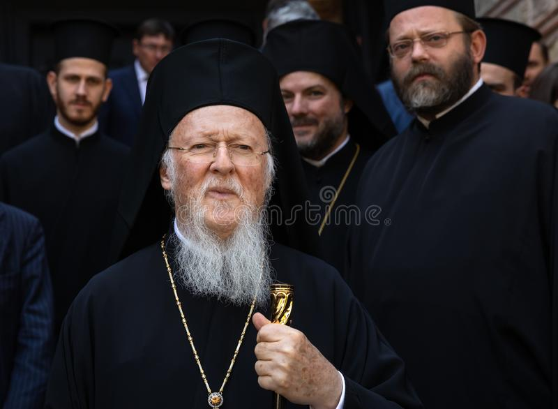His All-Holiness Ecumenical Patriarch Bartholomew. Istanbul, Turkey - Nov 03, 2018: Ecumenical Patriarchate and His All-Holiness Ecumenical Patriarch Bartholomew royalty free stock photography