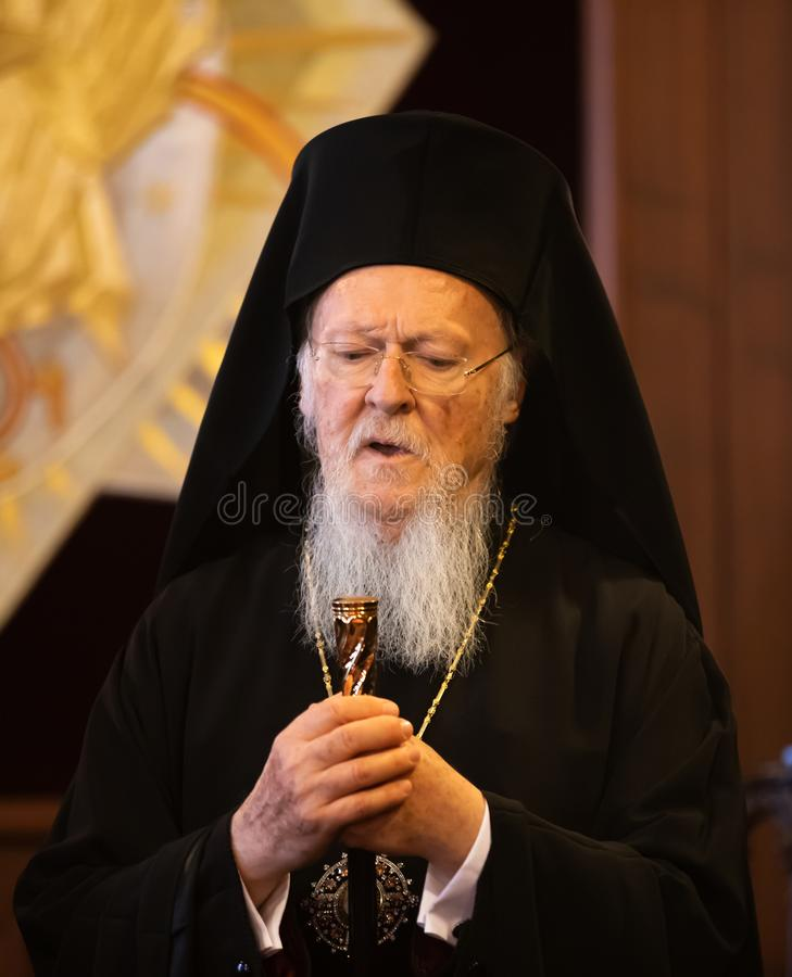 His All-Holiness Ecumenical Patriarch Bartholomew. Istanbul, Turkey - Nov 03, 2018: Ecumenical Patriarchate and His All-Holiness Ecumenical Patriarch Bartholomew royalty free stock image