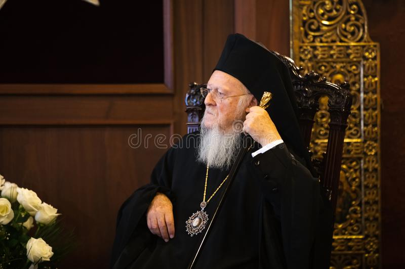 His All-Holiness Ecumenical Patriarch Bartholomew. Istanbul, Turkey - Nov 03, 2018: Ecumenical Patriarchate and His All-Holiness Ecumenical Patriarch Bartholomew royalty free stock images